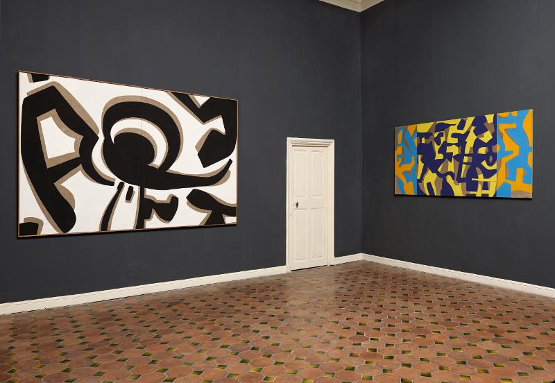 Intime Conviction : Carla Accardi. Grande bianco nero. 1991. Peinture vinylique sur toile. Diptyque. 260x160cm.© Collection Giuliana et Tommaso Setari