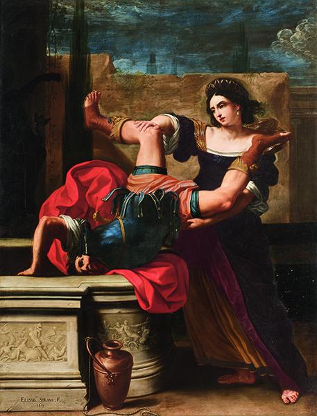 Les Dames du Baroque, Femmes peintres dans l'Italie du XVIe et XVIIe siècle : Elisabetta SiraniTimoclea tuant le capitaine d'Alexandre. 1659. Museo e Real Bosco di Capodimonte, Napoli