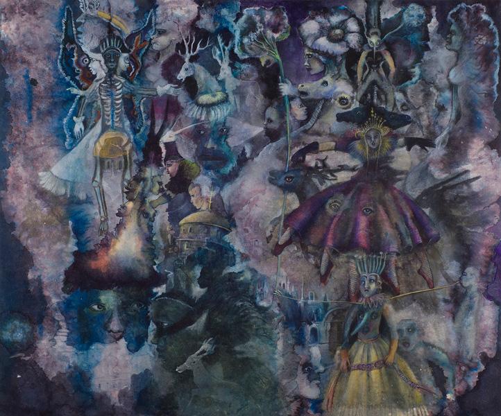 Christine Sefolosha, Waldszenen / Anya Belyat-Giunta, Terra Incognita : Christine Sefolosha. Purple Dancer. 2013/14, bains d'encre et pigments sur papier Japon marouflé, 100x160 cm © Mario Del Curto