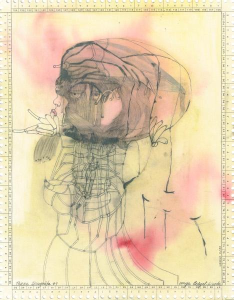 Christine Sefolosha, Waldszenen / Anya Belyat-Giunta, Terra Incognita : Anya Belyat-Giunta. Terra Incognita #4. 2014, graphite et crayon liquide sur carte perforée, 26,5x21 cm © Galerie Polad-Hardouin