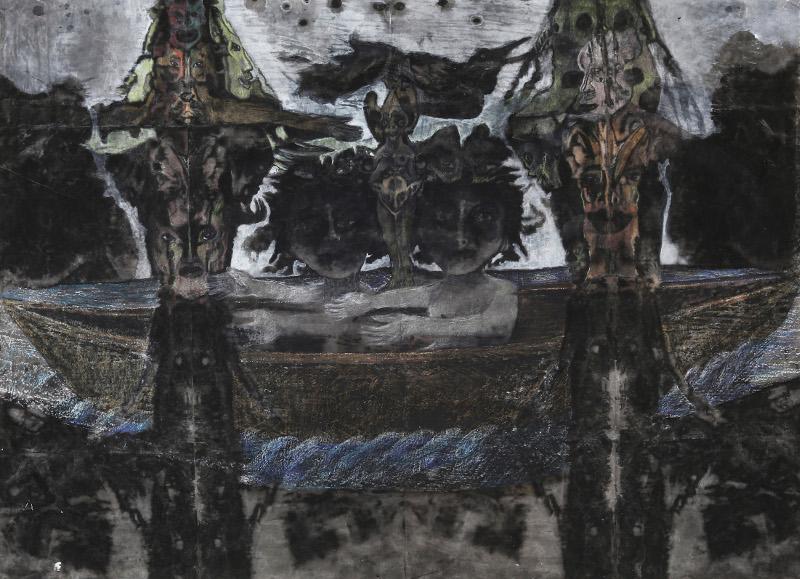 Christine Sefolosha, Waldszenen / Anya Belyat-Giunta, Terra Incognita : Christine Sefolosha. Le voyage. 2013/14, bains d'encre et pigments sur papier Japon marouflé, 100x158 cm © Mario Del Curto
