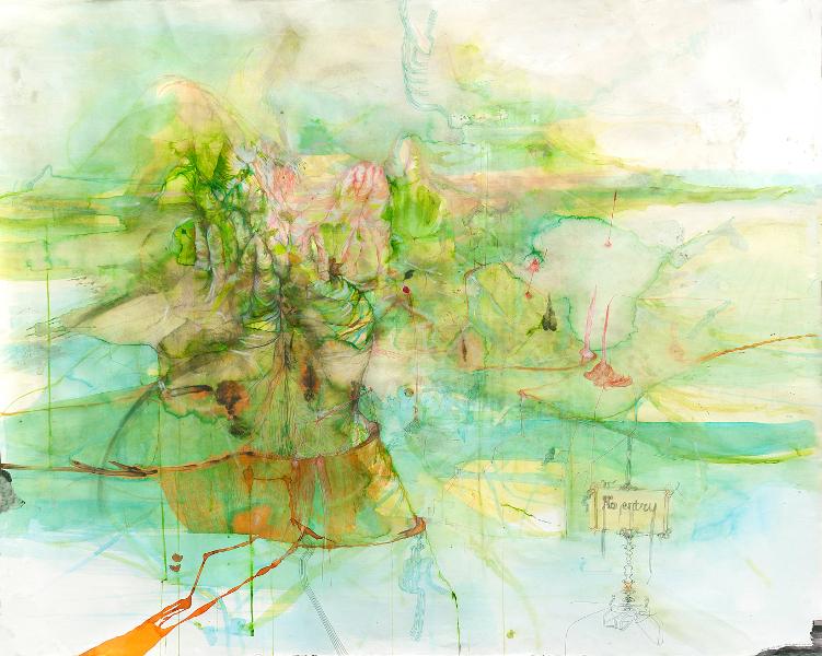 Christine Sefolosha, Waldszenen / Anya Belyat-Giunta, Terra Incognita : Anya Belyat-Giunta. Landscape with entry. 2014, crayon couleur, crayon liquide, pigment, encre et graphite sur papier, 129x148 cm © Patrice Bouvier