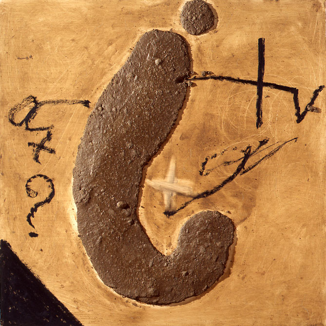 Antoni Tapies – Nouvelles peintures : Antoni Tàpies Gran signe d'interrogaciÒ, 2010 Technique mixte sur bois 150 x 150 cm. Courtesy Galerie Lelong et Antoni Tapies