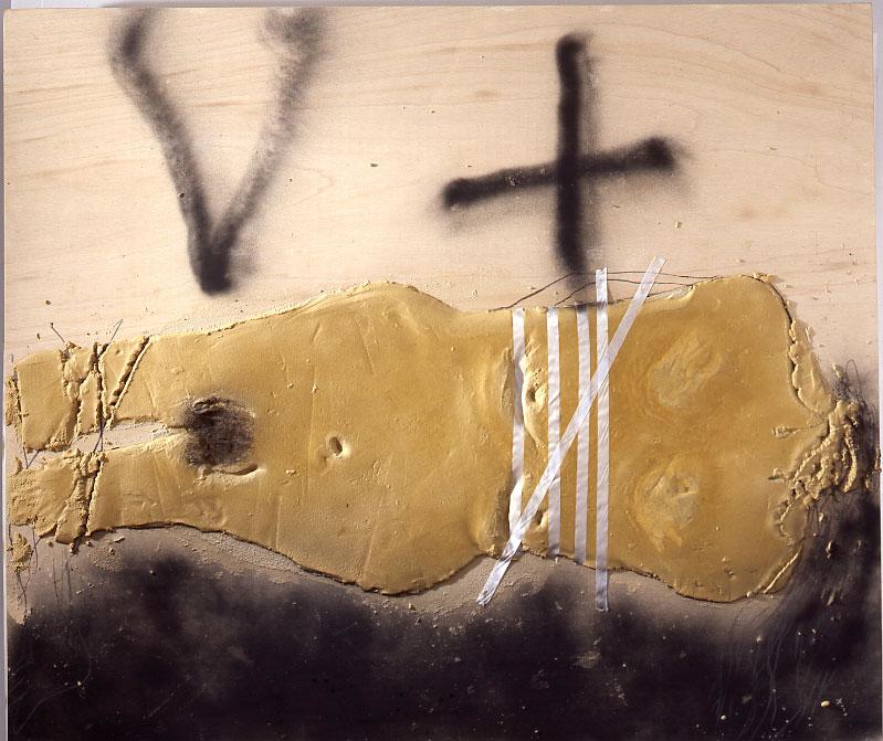 Antoni Tapies – Nouvelles peintures : Antoni Tàpies Cos lligat, 2010 Technique mixte et collage sur bois 170 x 200 cm Courtesy Galerie Lelong et Antoni Tapies