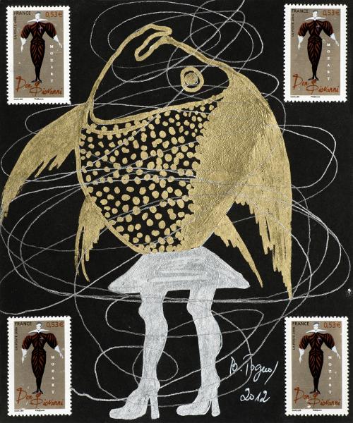 Barthélémy Toguo - Hidden Faces : Ghost tonight IX, 2012 Encre et collage sur papier cartonné noir  17 x 14,5 cm Courtesy Galerie Lelong / Photo Fabrice Gibert