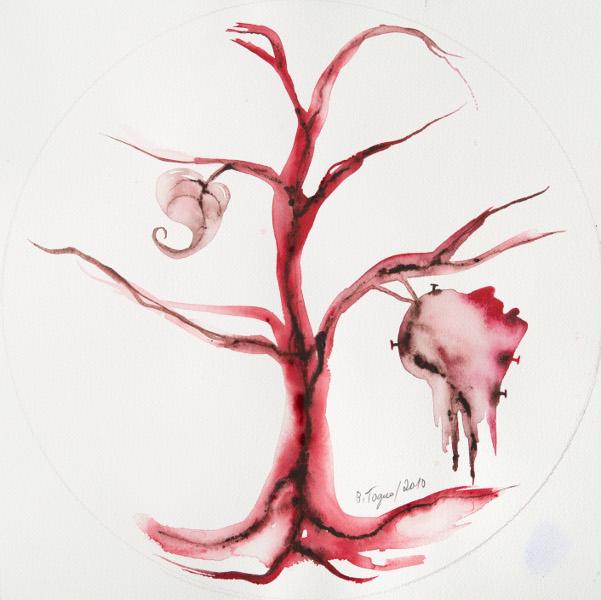 Ici l'Afrique : Judith Facing Holophern IX, 2010 Aquarelle sur papier / watercolor on paper 36 x Bartholomy Toguo 36 cm Courtesy Galerie Lelong & Bandjoun Station