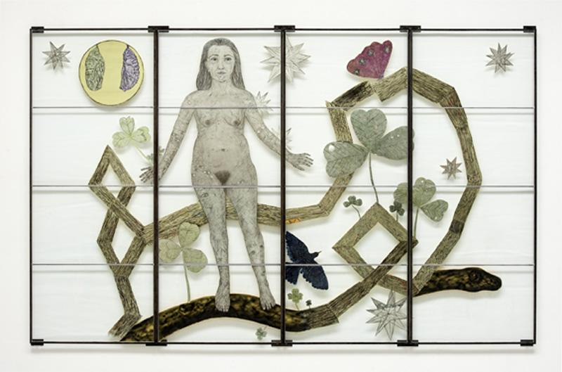 Jaume Plensa, Kiki Smith, Barthélémy Toguo – Trio : Kiki Smith Spring, 2012 Vitrail peint  203,2 x 325,1 cm # W17742 © Galerie Lelong & Artist / Photo Fabrice Gibert