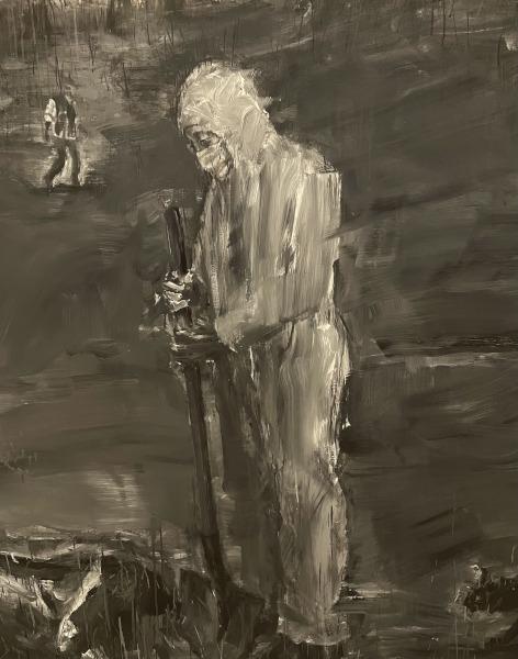 Yan Pei-Ming. Au nom du Père. : Pandémie (partie droite), 2020 diptyque, huile sur toile 400 x 560 cm Mentions obligatoires : Photographie : Clérin-Morin © Yan Pei-Ming, ADAGP, Paris, 2021.