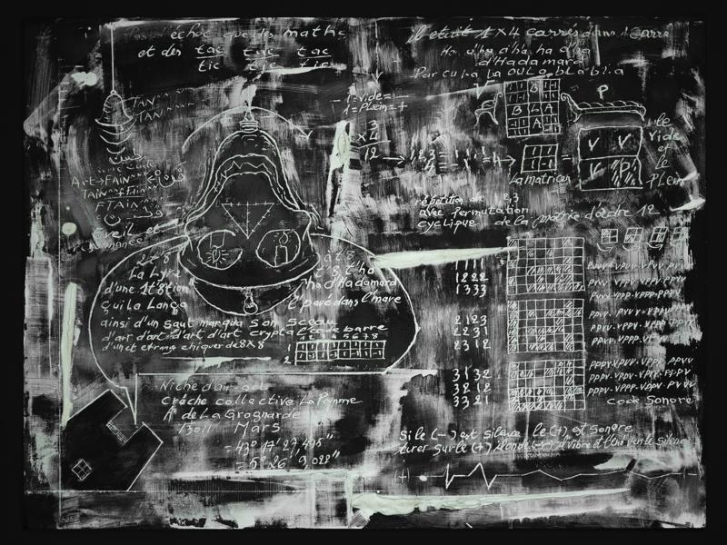 Yazid Oulab - Les outils de la peinture : Yazid OULAB Matrice d'Hadhamar, 2021 Plâtre de Paris sur filtre composite noire 64 x 84 cm. © Philippe Petiot