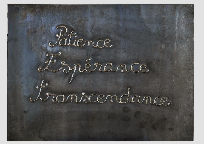 L'Art au défi de l'espérance : Yazid Oulab. Espérance, 2012, plaque de métal, 60 x 80 cm, © Yazid Oulab
