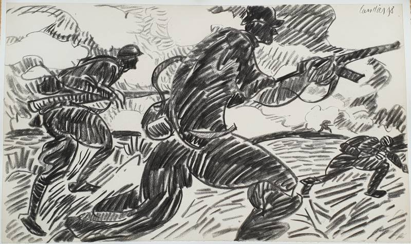 Henri Landier. Requiem pour les Barthélemy : l' Assault, fusain 1998 - 44x74 cm