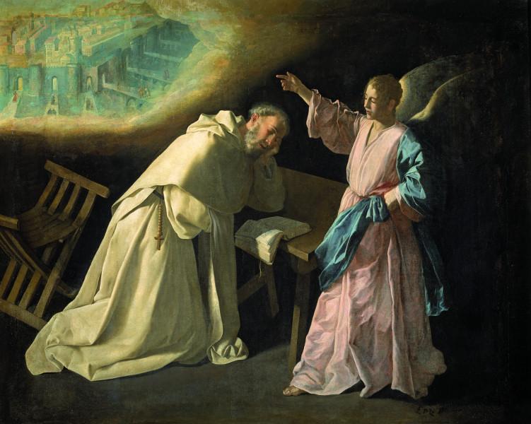 Francisco de Zurbarán : Vision de saint Pierre Nolasque de la Jérusalem céleste. 1629, huile sur toile, 179 x 223 cm. Musée national du Prado, Madrid.