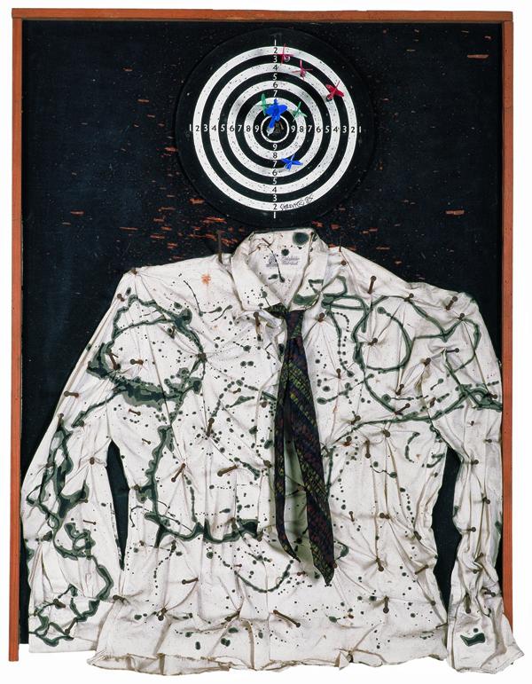 Niki de Saint Phalle : Saint Sébastien (Portrait of My Lover / Portrait of My Beloved / Martyr nécessaire,100 x 74 x 15 cm , peinture, bois et objets divers sur bois, Sprengel Museum, Hanovre, donation de l'artiste en 2000© 2014 Niki Charitable Art Foundation, All rights reserv
