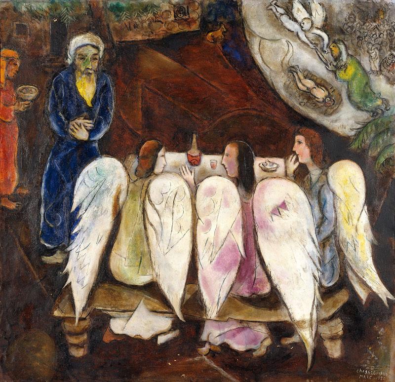 Chagall et la Bible : Abraham et les trois Anges, 1940-1950 © ADAGP, Paris 2011 – Chagall ®