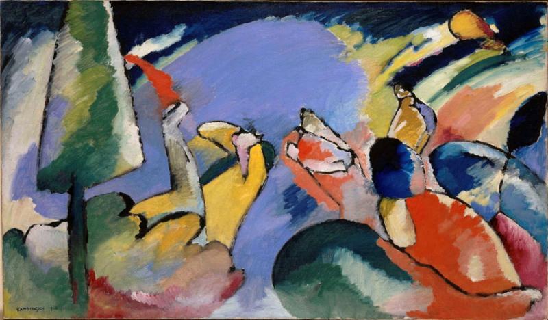 L'Europe des esprits ou la fascination de l'occulte, 1750-1950 : Wassily Kandinsky, Improvisation XIV, 1910 Wassily Kandinsky, Improvisation XIV, 1910,  huile sur toile, 74 x 125,5 cm, legs de Mme Nina Kandinsky Centre Pompidou, Paris, Musée national d'art moderne/Centre de création industrielle © Collection Centre Pom