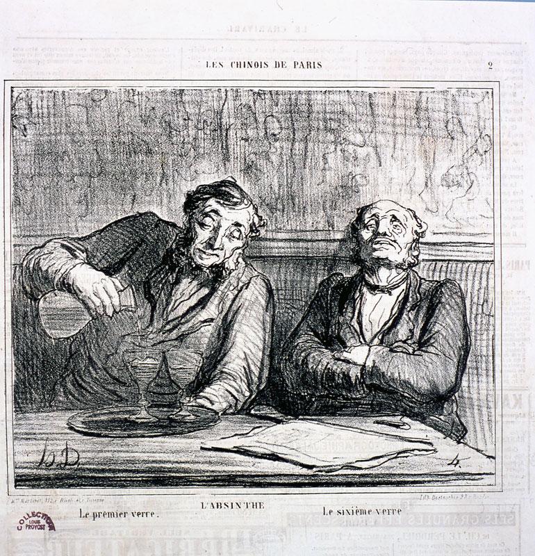Daumier, Steinlen, Toulouse-Lautrec - La Vie au quotidien : Daumier. L'absinthe.Le premier verre-Le sixième verre. Fonds Louis Provost - musée d'art et d'histoire - Saint-Denis.