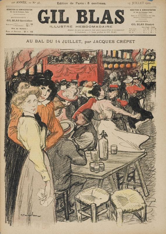 Daumier, Steinlen, Toulouse-Lautrec - La Vie au quotidien : Steinlen. Au Bal du 14 juillet in Gil Blas Illustré du 13 juillet 1900, Collection Musée de Montmartre, Paris