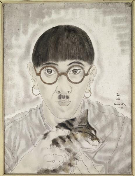Portraits : Léonard Foujita (1886 - 1968) Portrait de l'artiste 1928 Huile et gouache sur toile 35 x 27 cm JP 848 P Acquisition de l'Etat, 1937 Attribution, 1937