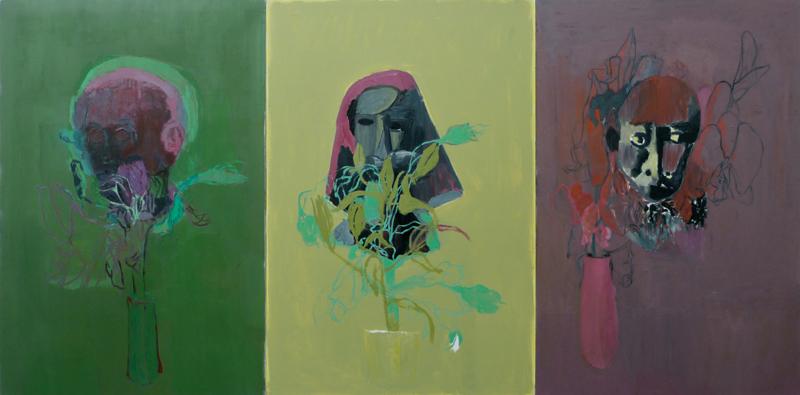 Biennale d'Issy 2011 : Joël Brisse. Fleurs de Méninges. 2008, huile sur toile, 390 x 195 cm.