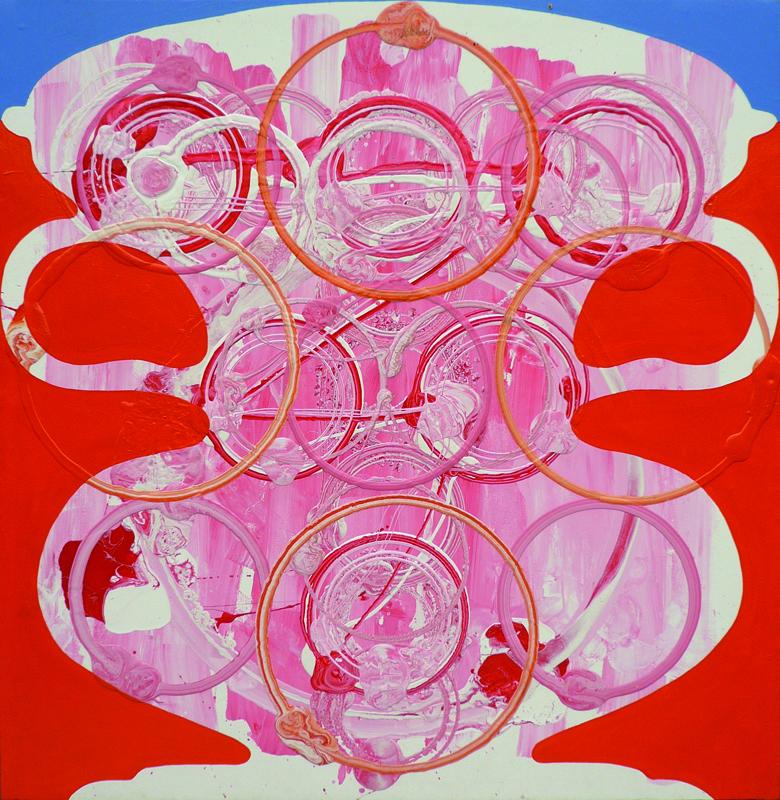 Dominique Gauthier- Méditations et stylistiques du rond, figurations frontalières : QUADRIPARTI : LÉCYTHE 2009.  Acrylique et huile sur toile 205x200cm