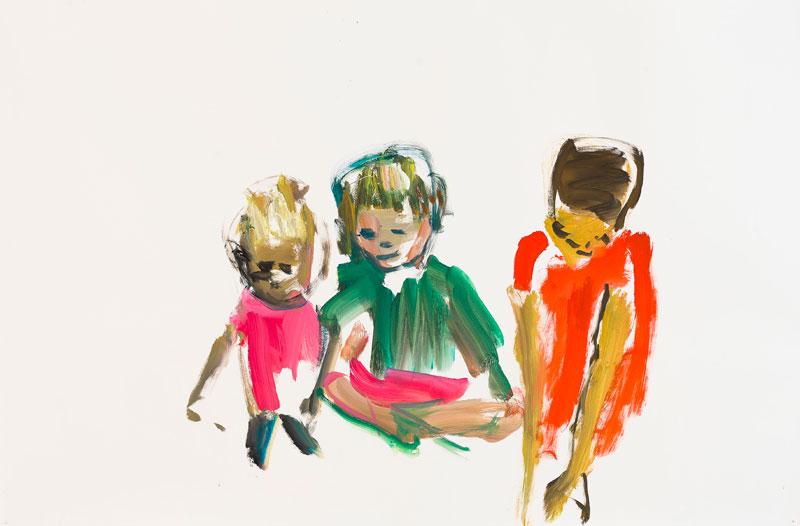 Damien Cabanes : Damien Cabanes, Batignolles. 2011, gouache sur papier. 114 x 190 cm. Courtesy galerie Éric Dupont, Paris