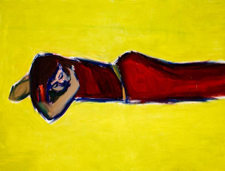 Damien Cabanes : Damien Cabanes, Saskia en robe rouge allongée sur fond jaune. 2008, huile sur toile. 187 x 245 cm.Courtesy galerie Éric Dupont, Paris