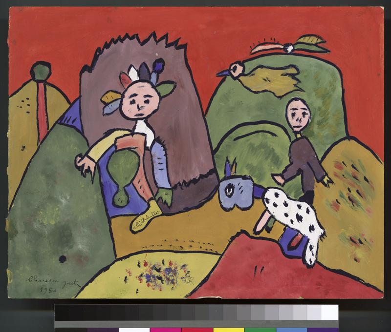 Chaissac-Dubuffet - Entre plume et pinceau : A Lili, deux personnages et un animal, Gaston Chaissac, 1950, gouache sur papier, 15 x 15 cm © Collection de l'Art brut, Lausanne