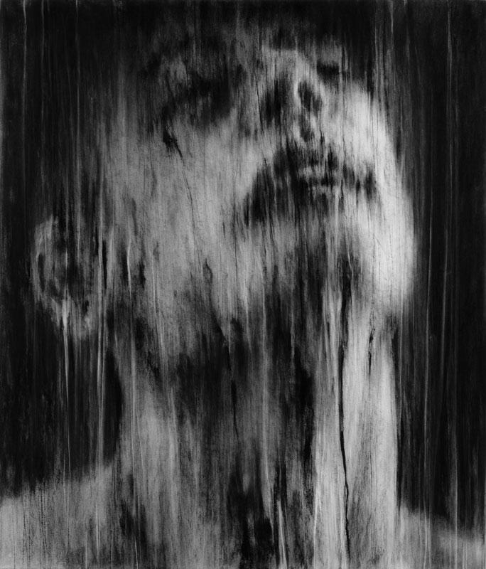 10 ans Flashback - Hommage à Stani Nitkowski : Guy Oberson. Dernière extase. 2008, Pierre noire sur papier marouflé sur toile, 140 x 120 cm.