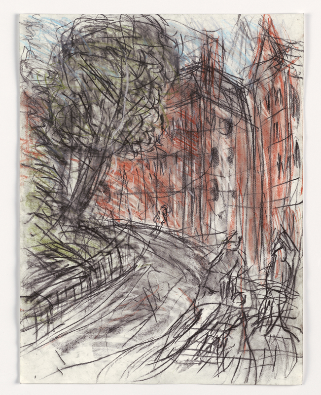Leon Kossoff-London Landscapes : King's Cross Stromy Day n°3, Leon Kossoff, 2004, fusain et pastel sur papier, 41,8 x 29, 7 cm © Courtesy de l'artiste et galerie Lelong, Paris