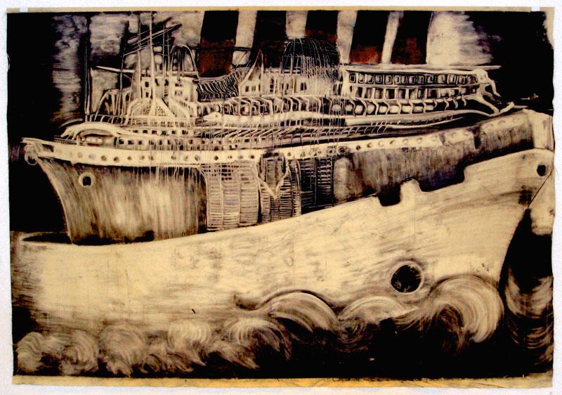 Christine Sefolosha et Louise Giamari – Vaisseaux fantômes : Christine Sefolosha. Carcasse. 2010, Monotype, 200 x 300 cm.