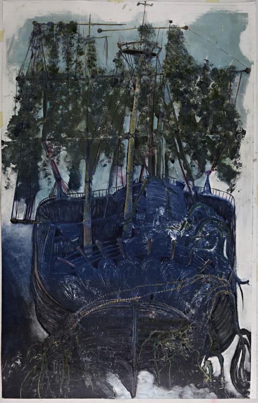 Christine Sefolosha et Louise Giamari – Vaisseaux fantômes : Christine Sefolosha. Caravelle bleue. 2010, Monotype, 221 x 140 cm.