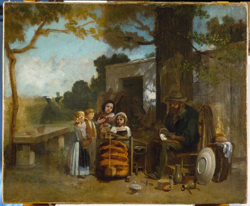 Gustave Courbet, l'amour de la nature : Le Rétameur 1842 huile sur toile, esquisse 50 x 61 cm photo © Institut Courbet  d'Ornans