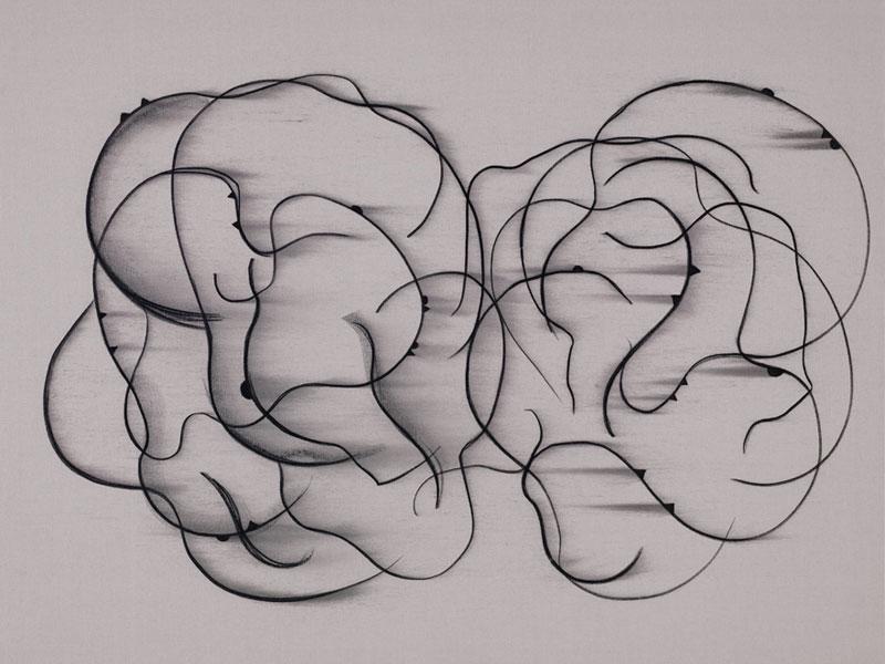 Catherine Viollet et Agnès Foiret – L'Entre-Deux : Catherine Viollet. Sans titre. 2008, Fusain sur toile, 140 x 185 cm.
