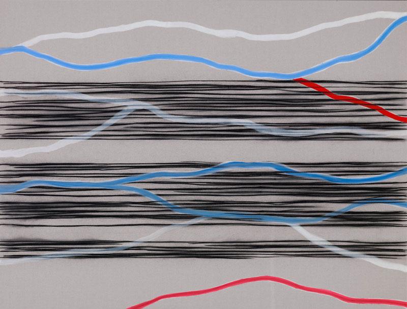 Catherine Viollet et Agnès Foiret – L'Entre-Deux : Catherine Viollet. Sans titre. 2010, Fusain et huile sur toile, 140 x 185 cm.