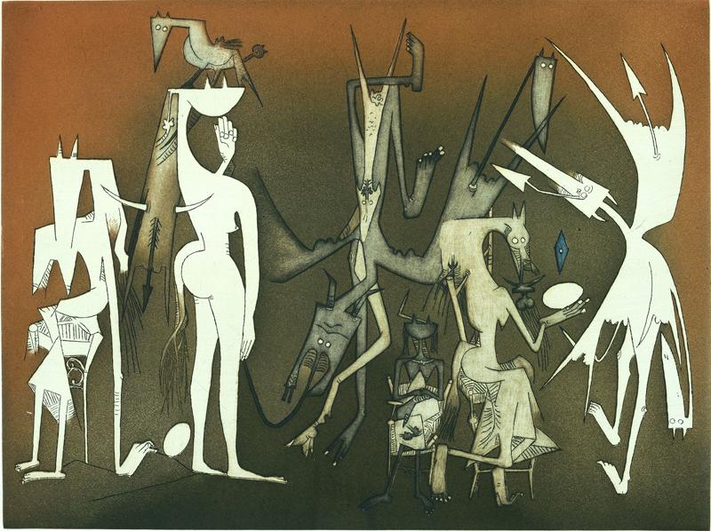 Aimé Césaire, Lam, Picasso - « Nous nous sommes trouvés » : Wifredo Lam que l'on présente son coeur au soleil 1969-1982 eau-forte et aquatinte couleur 49 x 65 cm collection privée © ADAGP, Paris 2011 © collection privée