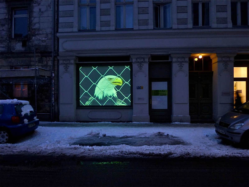 Corinne Mercadier – Black screen drawings et Longue distance : Bertrand Gadenne L'Aigle, vidéoprojection, 2005-2010 / Galerie Jordan/Seydoux, Berlin