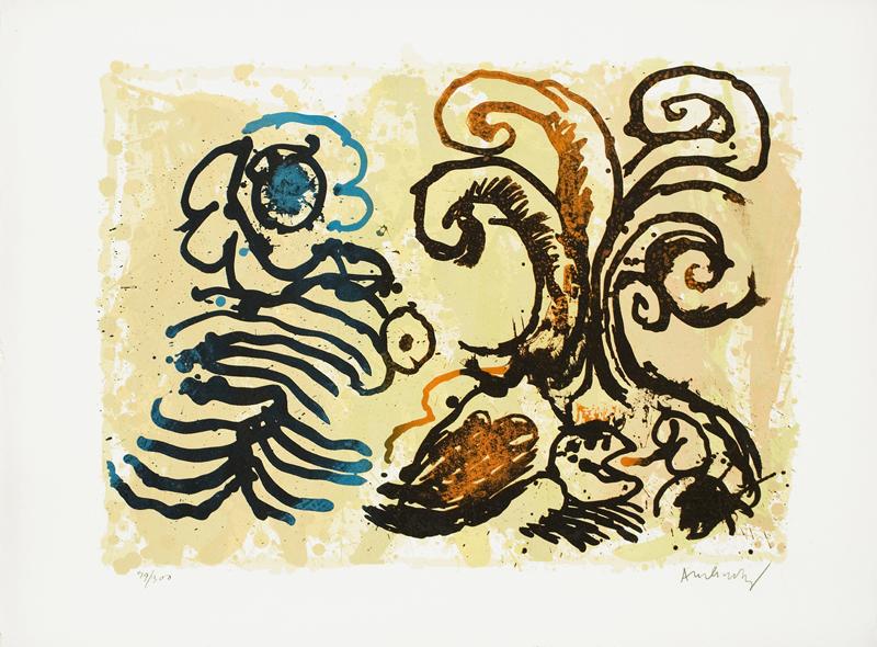 L'estampe, un art pour tous : des Suites Prisunic à Catherine Putman : Pierre Alechinsky La Fleur de l'âge – 1967 lithographie - 39 x 52 cm - 300 épreuves   imprimé par Clot, Bramsen et Georges, Paris -  Editions Jacques Putman pour les Suites Prisunic   © ADAGP, Paris 2011 – photo Alberto Ricci