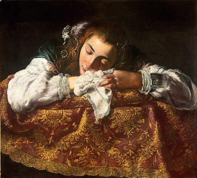 Chefs-d'œuvre de Budapest. Dürer, Greco, Tiepolo, Manet, Rippl-Rónai : Peintre romain (?)- Jeune fille endormie. Vers 1610-1620. Huile sur toile. 67,5 x 74 cm. Budapest, musée des Beaux-Arts.