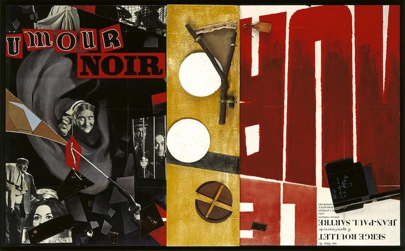 Eduardo Arroyo / Hervé Télémaque - Collages : Hervé Télémaque, Blême, 1991, assemblage et collage, 200 x 120 cm. Collection de l'artiste