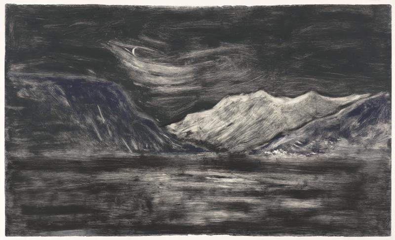 Astrid de La Forest – Variations sur la montagne : Nuit, Monotype, 86 x 138cm, 2012 Courtesy Galerie Vieille du Temple