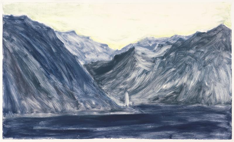 Astrid de La Forest – Variations sur la montagne : Le phare, Monotype, 86 x 138cm, 2012 Courtesy Galerie Vieille du Temple