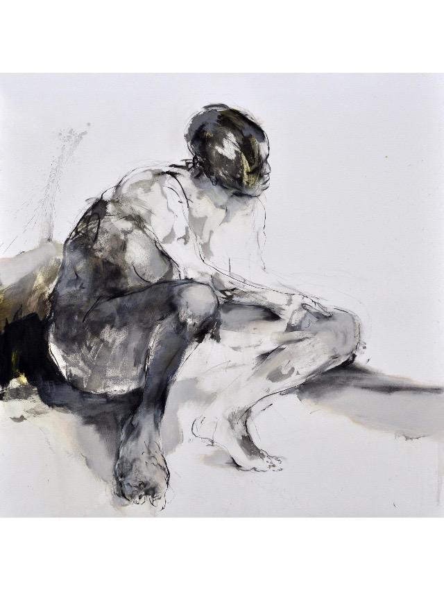 Franta. Humains : Attente,2006-Encre de Chine sur papier, 104x104 cm - Art Point Gallery Int.