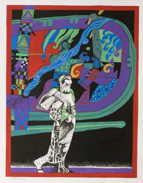 Dia Azzawi – Un itinéraire (Double exposition) : AZZAWI - Arabian Nights, Shahriyar, 1984. Gouache et graphite sur papier, 44 x 33,5 cm. Courtesy Galerie Claude Lemand, Paris