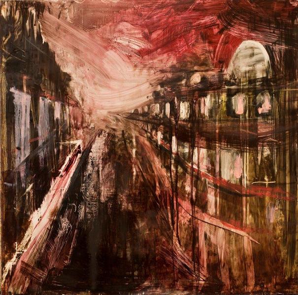 Al Aswadi, Bartoli, Leclercq & Markantonakis : Pierre-Luc Bartoli. Boulevard au couchant. 2011, huile et pastel sur toile, 80 x 80 cm. Courtesy l'artiste et la galerie Patrick Bartoli, Marseille