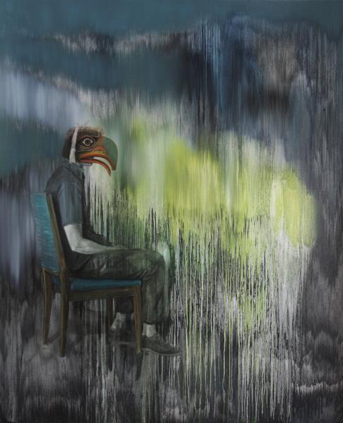 Romain Bernini - Woods : Romain Bernini, Sans titre (série Cargo Cult), 2014, Huile sur toile, 220x180 cm, Courtesy de l'artiste et Galerie Suzanne Tarasieve, Paris