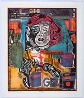 15e biennale internationale de la gravure à Sarcelles : Claudio Caropresso - Whywarhol. Gravure sur bois. 54,5 x 46 cm. © Jean-Yves Lacôte