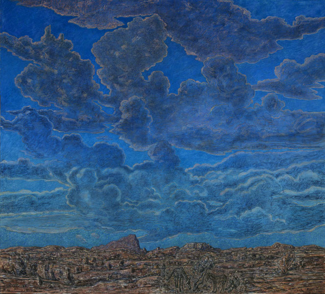 Le Parcours d'art contemporain de Carcassonne : Vincent BIOULES - En Mi Castillo De Suenõs - Technique mixte, pastels et acrylique sur toile, h. 190 x l. 210 cm - 2005