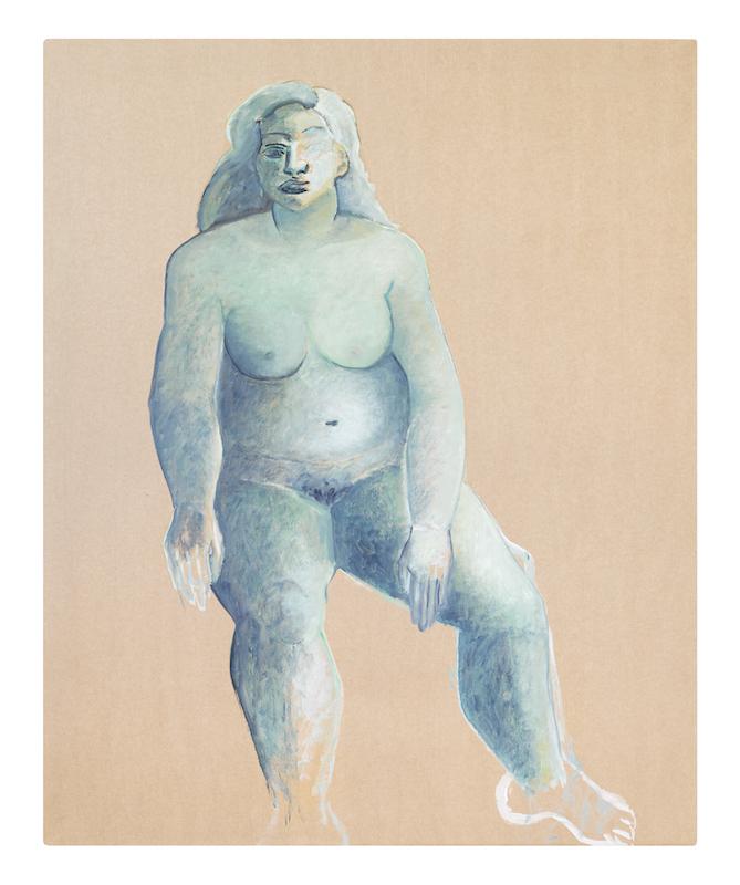 Brigitte Moreau Serre - Ses mains s'ouvrent sur une étoile : Abandon, 2000, papier kraft marouflé sur toile, 110 x 90 cm, travail avec modèle. © Marina Gusina