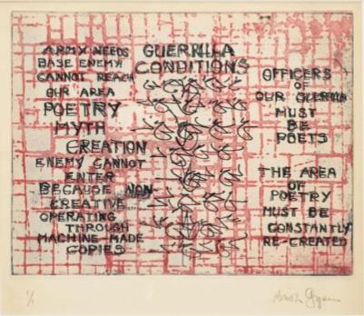 Brion Gysin : Guerilla Conditions  48 x 56 cm  Lithographie © Galerie de France, Paris