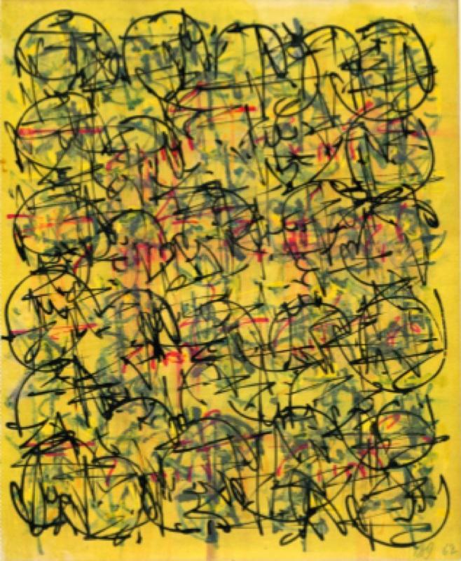 Brion Gysin : Sans titre,1962  24.5 x 20.7 cm  Aquarelle, encre de Chine sur papier  Page d'un carnet de dessin © Galerie de France, Paris